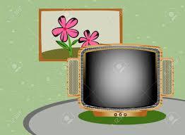 Livingroom Cartoon Retro Tv Cartoon Living Room Style Royalty Free Cliparts Vectors