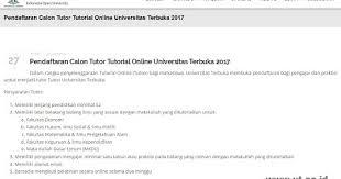 pendaftaran tutorial online ut pusat karir ut pendaftaran calon tutor tutorial online universitas