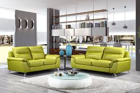 Green Leather Sofa by Gray White Wall Plus Glass Windows Combined With Book Shelves And