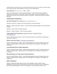 sample resume tv production assistant production resume examples