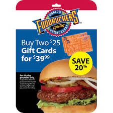 fast food gift cards 25 fuddruckers gift card 2 pk bj s wholesale club