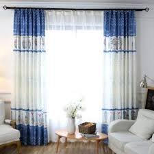 Blue And White Window Curtains White Floral Pastoral Embroidery Elegant Beads Custom Sheer Curtains