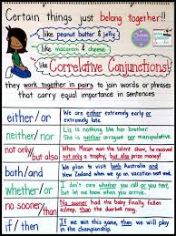 teaching correlative conjunctions anchor charts writing lessons