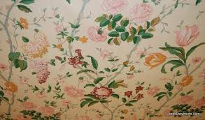 Vintage Drapery Fabric Z105 Vintage English Chintz Garden Tulip Lilly Rose Flower Butter