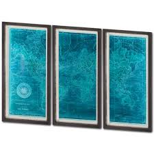 World Map Artwork by Azure World Map Set Of 3 Framed Art Mercana Art Decor