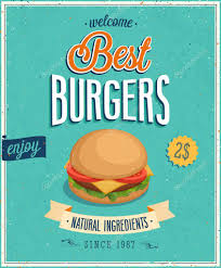 affiche cuisine vintage vintage burgers poster stock vector aviany 31597239