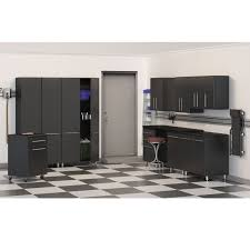 black metal storage cabinet unit with doors and wheels for garage