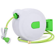 goplus gt3231 100 u0027 retractable water garden hose reel auto wall
