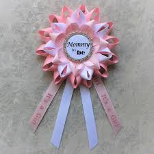 its a pin baby shower corsage pale pink white baby