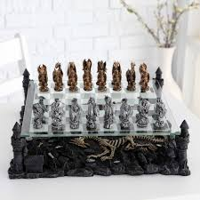 3d dragon pewter chess set hayneedle
