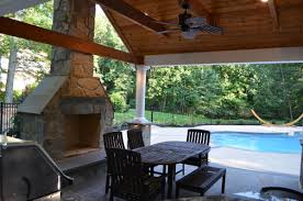 pool house outdoor kitchen fireplace interior of pavilion portion