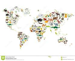 Kids World Map by Cartoon Animal World Map For Children And Kids Animals From All