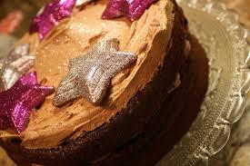 chocolate layer cake with cadbury chocolate glitter painted stars