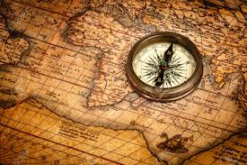 Ancient Map Old Vintage Retro Compass On Ancient Map Stock Photo Picture And