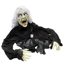 halloween haunters 5 u0027 animated creepy crawling evil zombie witch prop
