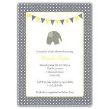 baby shower invitation elephantine gender neutral grey