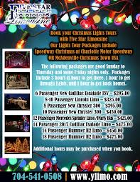 charlotte motor speedway christmas lights 2017 christmas lights tours charlotte five star limousine