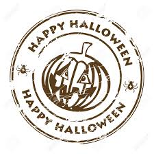 happy halloween sign black and white abstract brown grunge rubber stamp with pumpkin and the word