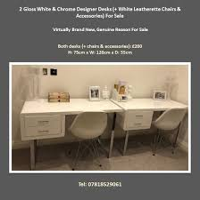Designer Desks For Sale 2 Gloss White U0026 Chrome Designer Desks White Leatherette Chairs