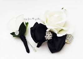 Prom Corsages And Boutonnieres Black And White With Rhinestones Real Touch Rose Wedding