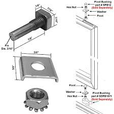 shower door stainless steel pivot pin with hex nut and washer for
