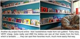 cool kids bookshelves another cool diy project gutters as kids bookshelves and