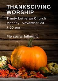 thanksgiving worship at evangelical lutheran church