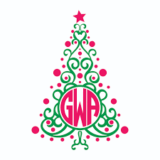 monogram christmas christmas tree monogram svg cuttable frames