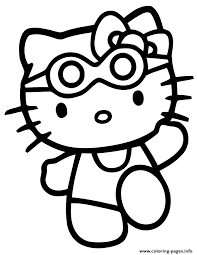hello kitty in swimsuit and goggles coloring pages printable
