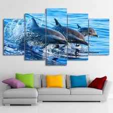 dolphin home decor oil painting canvas 5 panel animal dolphin modular decoration home