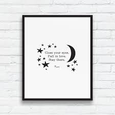 Love And Stars Quotes by Rumi Love Quote Print Black And White Art Pink Wall Art Self