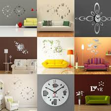 diy modern wall clock stickers decal art decor home room office detail image
