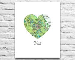 Florida Map Orlando by Orlando Florida Heart Map Digital Download For You 2 Print