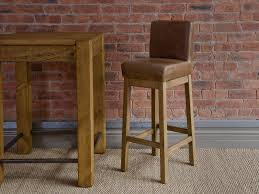 square brown leather bar stool with back and brown wooden base