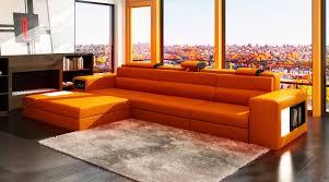 Polaris Sofa 2017 Latest Burnt Orange Leather Sectional Sofas