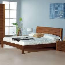 Teak Bed Alpha Platform Bed With Horizontally Grooved Headboard In Teak