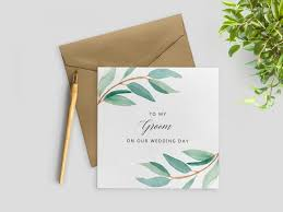 Groom To Bride Card To My Husband On Our Wedding Day To My Groom Card Wedding Day