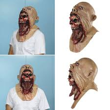 bloody zombie mask melting face latex costume walking dead