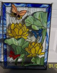 lotus flowers butterflies stained glass panel designs in stained