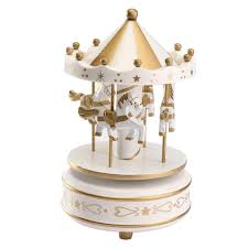 wind up wooden roundabout carousel musical box kid birthday