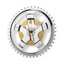 hybrid wall clock bicycle clock gear recycled uncommongoods