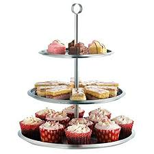 amazon com vonshef 3 tier stainless steel cake serving stand