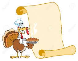 happy thanksgiving turkey bird holding a pie by a blank menu