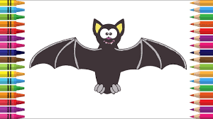 how to draw a bat cute cartoon bat coloring halloween bat