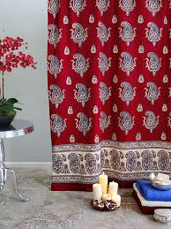 red shower curtain paisley print red shower curtain vintage