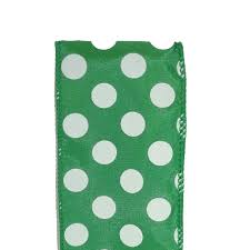 emerald green ribbon 40 wired spirit dot ribbon emerald white 10 yd roll