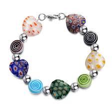 flower beaded bracelet images 2018 2019 flower silver handmade heart lampwork murano glass charm jpg