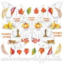 thanksgiving decals nails pumpkin leaves nail water decals