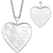 personalized heart locket personalized footprints in the sand sterling silver locket walmart
