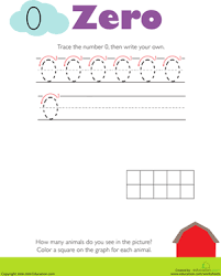 tracing numbers u0026 counting 0 worksheet education com
